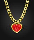 chain hängande hjärtajuvel Arkivfoton