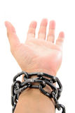 Chain and hand Royalty Free Stock Photography