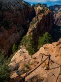 Chain Hand Rails Angels Landing Hike in Zion Royalty Free Stock Image