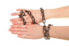 Chain on hand and wedding Ring. Isolated chain on woman hand and wedding Ring Stock Photo