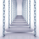 Chain hanged staircase steps to go up Royalty Free Stock Photos