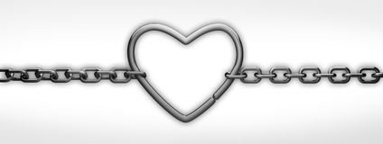 Chain with  heart. On withe 3d render Royalty Free Stock Photos