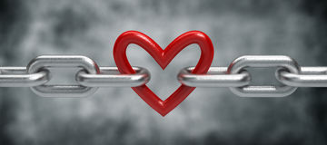 Chain with heart. 3d render stock photo