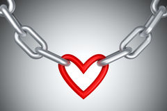 Chain with heart. 3d render Royalty Free Stock Photos