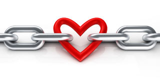 Chain with heart. 3d render Royalty Free Stock Images