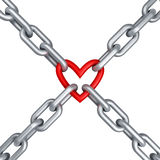 Chain with heart. 3d render Stock Images