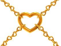 chain hjärtor Fotografering för Bildbyråer