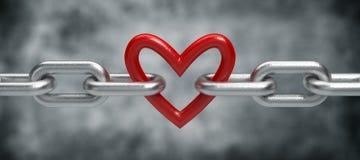 chain hjärta Arkivfoto
