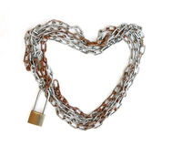 Chain hjärtaform med huvudnyckellåset Royaltyfria Foton