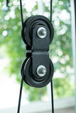 Chain hoist pulley. Close up chain hoist pulley royalty free stock image