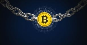 Chain holding bitcoin graphic icon vector illustration
