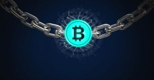 Chain holding bitcoin graphic icon stock illustration