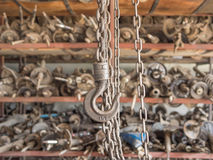 Chain and hook in garage Royalty Free Stock Image
