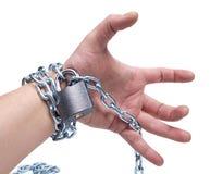 Chain on human hand Stock Photo