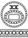 Chain icons, parts, circles of chains Stock Photography