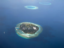 Chain of islands. Aerial view of maldivian islands stock photos