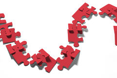 Chain of Jigsaw Puzzle Pieces Stock Photography