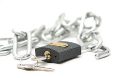 chain key lås Royaltyfri Bild