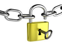 Chain with a Key that is Opening a Padlock Royalty Free Stock Image