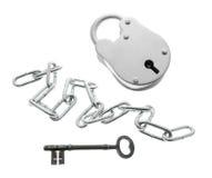 chain key padlock Arkivfoton