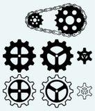 Chain kugghjul och uppsättningkuggar Royaltyfri Fotografi