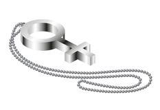 chain kvinnligmetalltecken Royaltyfri Foto
