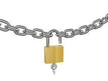 chain låst upp kromtangentpadlock Royaltyfri Foto
