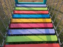 Chain ladder stairs colorful in the playground happyness park. Colourful playground for kid, boys and girls always happy times, funniest baby happy day Stock Image