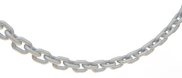 Chain Link. Long chains are connected. For security, a strong sturdy chain. Beautifully shiny silver chain Royalty Free Stock Image