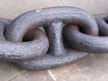 Chain link. Big chain from ship anchor stock image