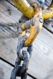Chain link. Close up of a yellow chain link Stock Image