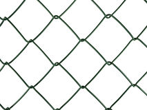 Chain-link aka wire netting fence, isolated. Standard dark green agricultural or garden fencing material, isolated over white Royalty Free Stock Photography