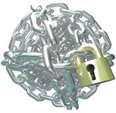Chain Link Ball Lock Secure Commitment. A ball of shiny metal chain links and golden lock to illustrate committment and contractual obligation Stock Photography