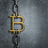 Chain link bitcoin. 3D illustration of metal chain with gold bitcoin symbol link Stock Images