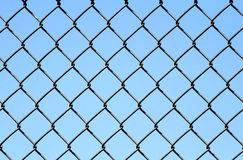 Chain Link on Blue Stock Photo