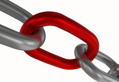 Chain link concept 3d. Red chain link isolated 3d render white background Royalty Free Stock Images