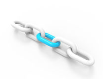 Chain link. 3D illustration of a chain link isolated on white background. Business and Sports concept Stock Illustration