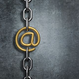 Chain link email. 3D render of metal chain with gold email symbol link Stock Photography