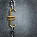 Chain link euro. 3D render of metal chain with gold euro symbol link Royalty Free Stock Image