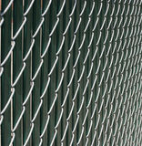 Chain Link Fence. With slatted background Royalty Free Stock Image