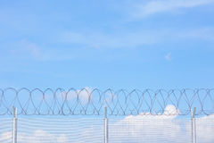 Chain link fence with barbed wire Royalty Free Stock Photos