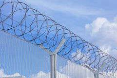 Chain link fence with barbed wire Royalty Free Stock Photography