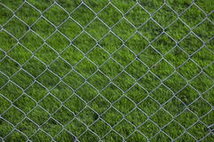 Chain Link Fence with grass background Royalty Free Stock Image