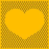 Chain link fence with heart. Vector chain link fence texture with heart on yellow backgound Stock Photography