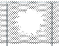 Chain Link Fence Hole. With blank copy space  on a white background burst with ripped chainlink metal wire that has been punctured or punched open as a Royalty Free Stock Photo
