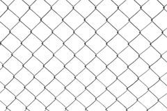 Chain-link fence isolated on white stock photo