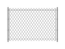 Chain link fence. Realistic metal mesh fences wire construction steel security wall industrial border metallic texture royalty free illustration