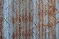 Chain link fence,Rusty wire fence.  Stock Photography