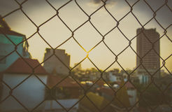 Chain Link Fence Seamless And Sun Stock Image