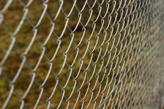 Chain link fence. Silver chain link fence pattern with grass on the background Royalty Free Stock Photography